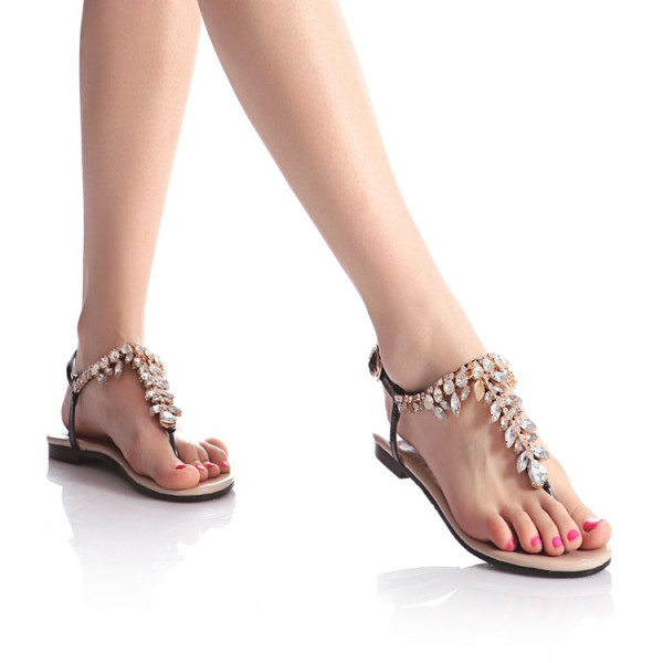 Black Rhinestone Flats Open Toe Jeweled Summer Sandals Beach Shoes image 3