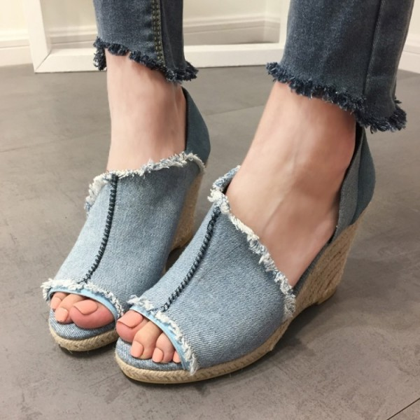 Blue Jean Heels Open Toe Denim Cut Out Wedges image 1