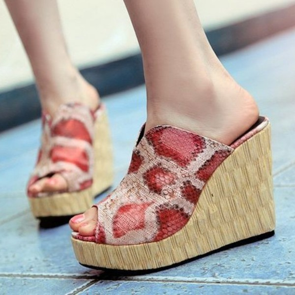Women's  Red Python Peep Toe Mule Wedge Sandals image 1