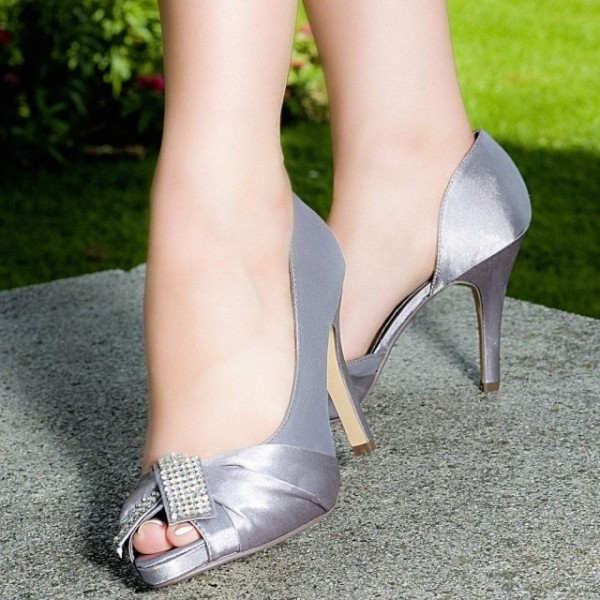 Grey Satin Rhinestone Peep Toe Stiletto Heels Pumps Wedding Shoes image 1