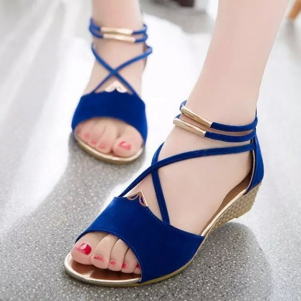 Women's Royal Blue Golden Sole Cross Over Ankle Strap Wedge Sandals image 1