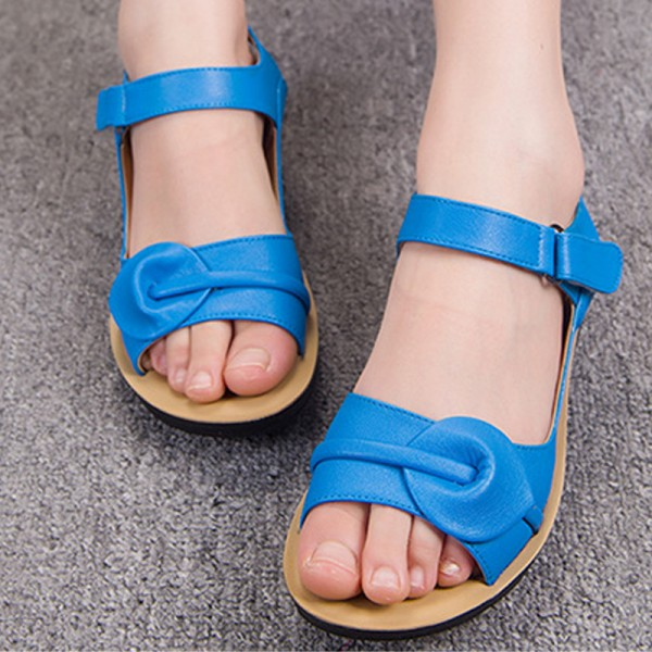 Cobalt Blue Shoes Open Toe Flat Summer Sandals image 1