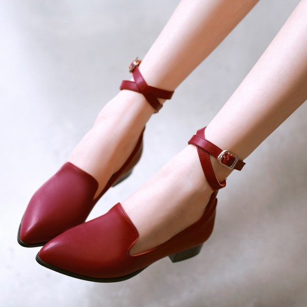 Women's Maroon Ankle Straps Buckle Chunky Heel Vintage Shoes image 1