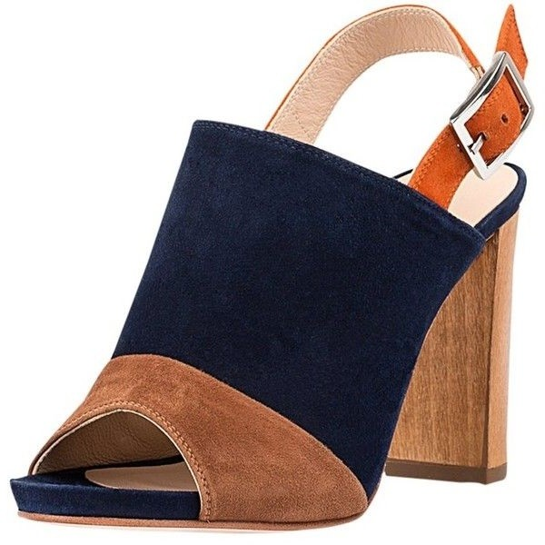 Navy and Camel Suede Slingback Shoes Peep Toe Chunky Heels image 1