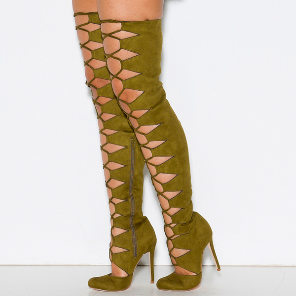 Olive Green Gladiator Boots Suede Thigh High Lace up Boots for Women image 1