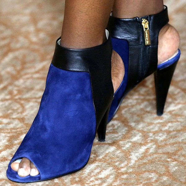 Royal Blue Fashion Boots Slingback Peep Toe Cone Heel Booties image 1