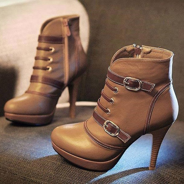 Brown Platform Boots Round Toe Ankle Booties with Buckles US Size 3-15 image 1