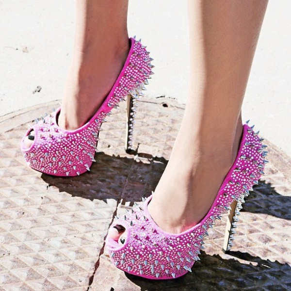 Women's Hot Pink Rhinestone Rivets Stripper Heels Pumps image 1