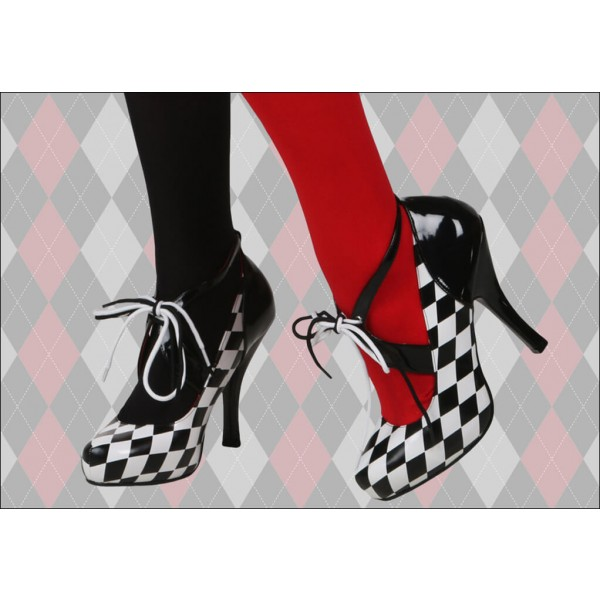Harley Quinn Lace up Heels Black and White Pumps for Halloween image 2