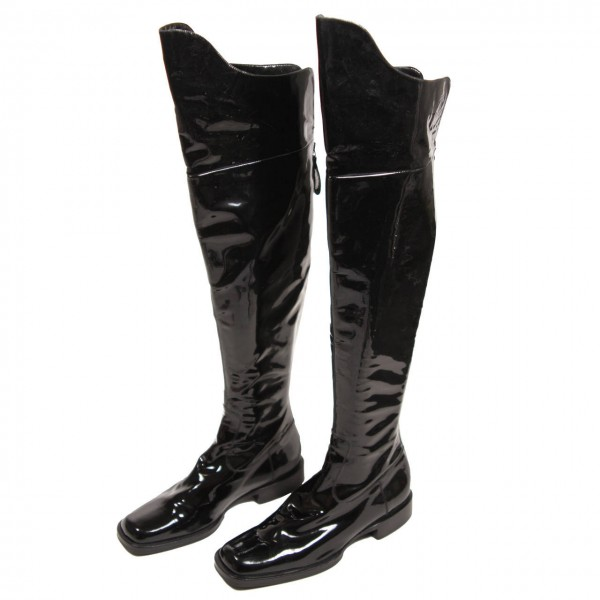 Black Square Toe Boots Cat Woman Patent Leather Over Knee Long Boots image 1