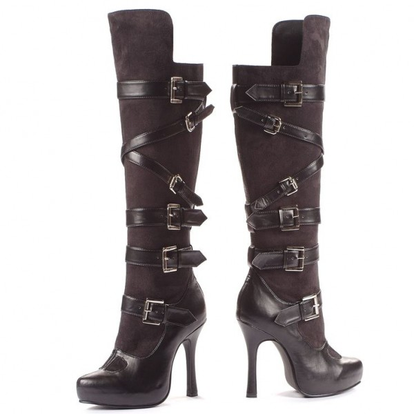 Cat Woman Black Suede Buckles Stiletto Heels Knee High Boots for Halloween image 1
