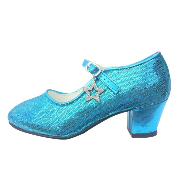 Frozen Elsa's Blue Sequined Chunky Heel Mary Jane Pumps for Halloween image 1