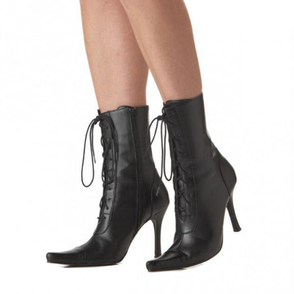 Black Lace up Boots Stiletto Heel Witch Mid-calf Boots for Halloween image 1