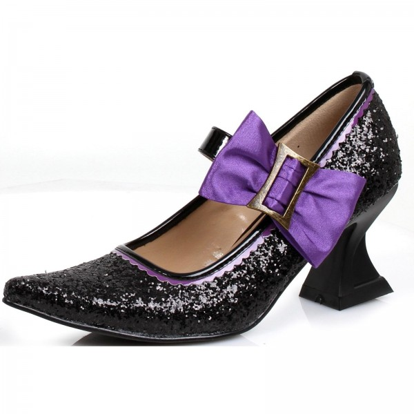 Black and Purple Glitter Shoes Spool Heel Witch Pumps for Halloween image 1
