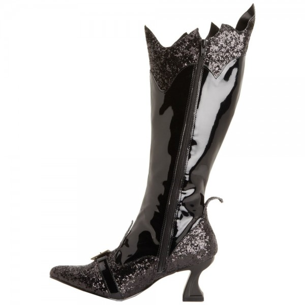 Women's Black Glitter Witch Costumes Halloween Zip Mid-calf Spool Heel Boots image 1