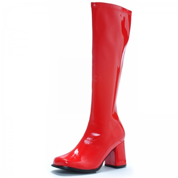 Wonder Woman Red Patent Leather Mid-Calf Chunky Heel Boots image 1