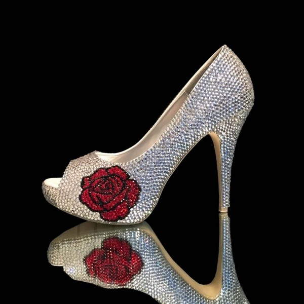 f60cfd9db1 Beauty and the Beast Silver Rhinestone Heels Rose Halloween Pumps image 1  ...