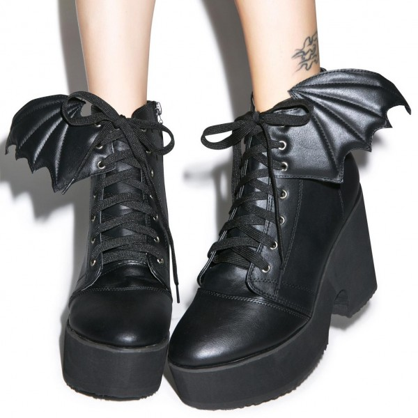 Bat Girl Lace up Boots Black Chunky Heel Ankle Boots for Halloween image 1
