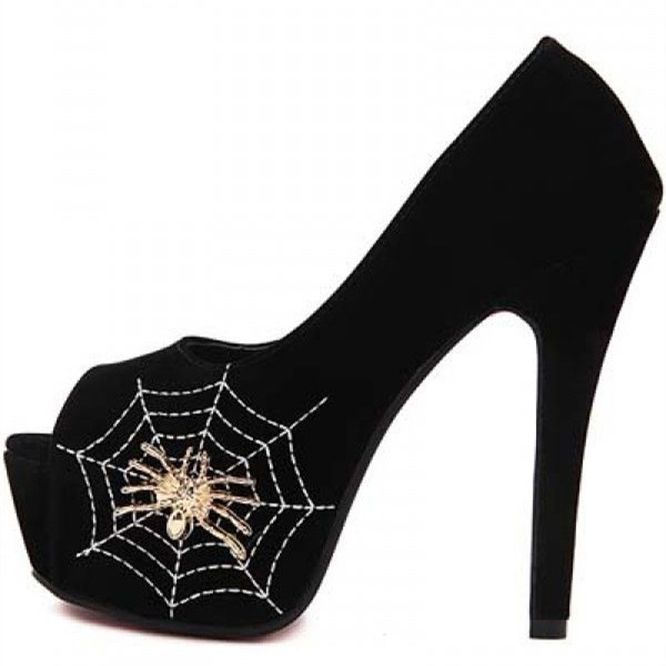 Spider Man Black Suede Floral Web Peep Toe Platform Pumps for Halooween image 1