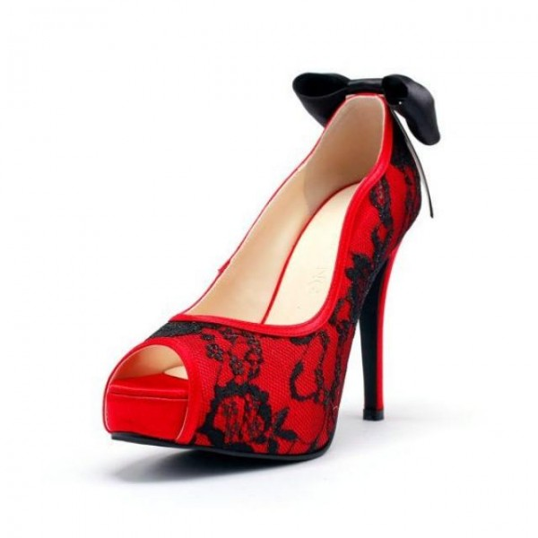 Red Lace Heels Peep Toe Platform Vampire Pumps for Halloween image 1