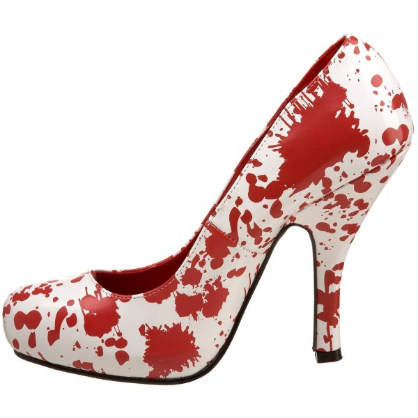 Women's Vampire White and Red Floral Heels Low Cut Upper Pumps image 1