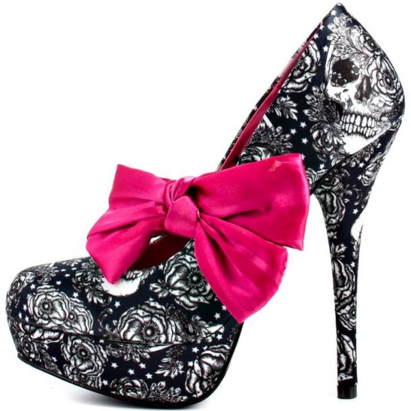 Women's Vampire Floral Heels Bow Platform Stiletto Heel Pumps for Halloween image 1