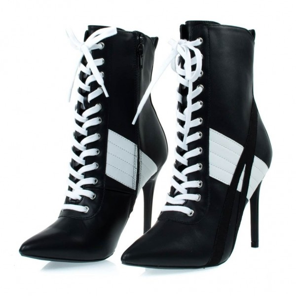 Black and White Lace up Boots Harley Quinn Stiletto Heel Booties image 1