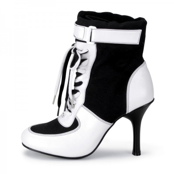 Harley Quinn Lace up Boots Black and White Ankle Booties for Halloween image 1