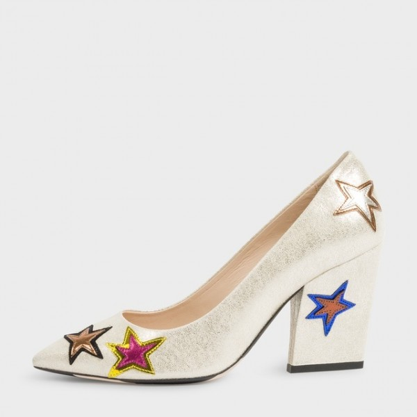 Ariel Champagne Star Floral Pointy Toe Chunky Heels Pumps for Halloween image 1
