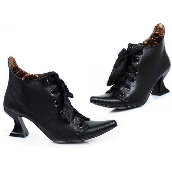 Witch Lace up Boots Pointy Toe Ankle Boots for Halloween image 1