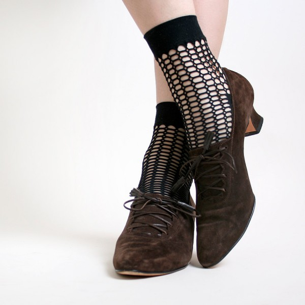 Brown Lace up Boots Vintage Suede Witch Ankle Boots for Halloween image 1
