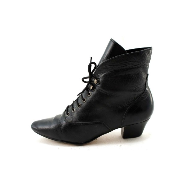 Women's Witch Black Vintage Boots Block Heel Lace Up Ankle Boots for Halloween image 1