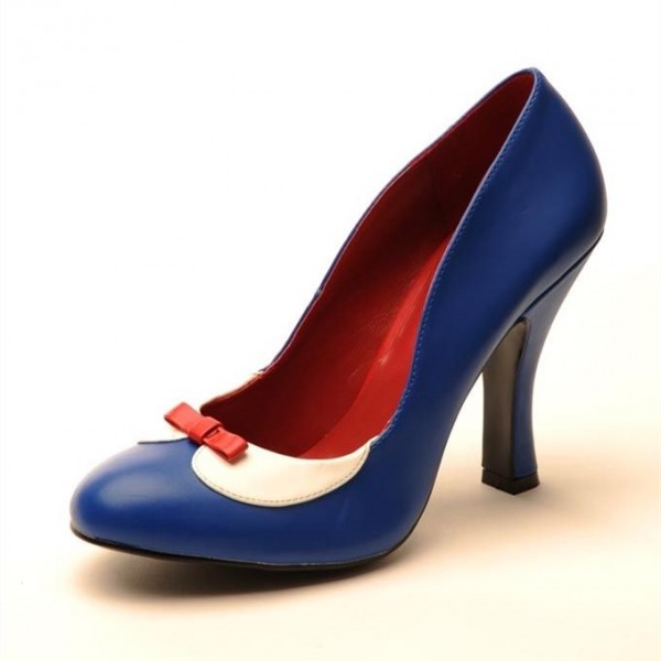 snow white blue bow vintage shoes kitten heels pumps for