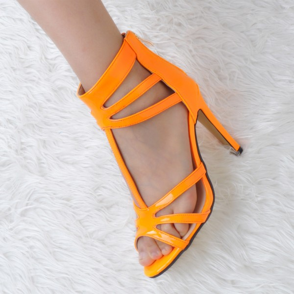 Orange T Strap Sandals Patent Leather Stiletto Heel Sandals image 1