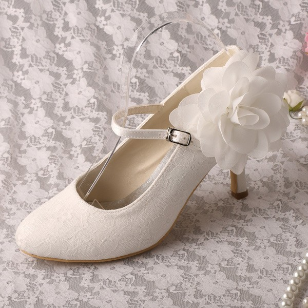 Ivory Wedding Shoes Lace Heels Mary Jane Pumps with Flower image 1