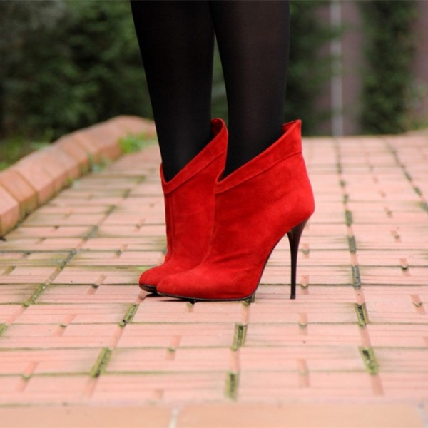 Dark Orange Suede Stiletto Boots Closed Toe High Heel Ankle Booties image 1