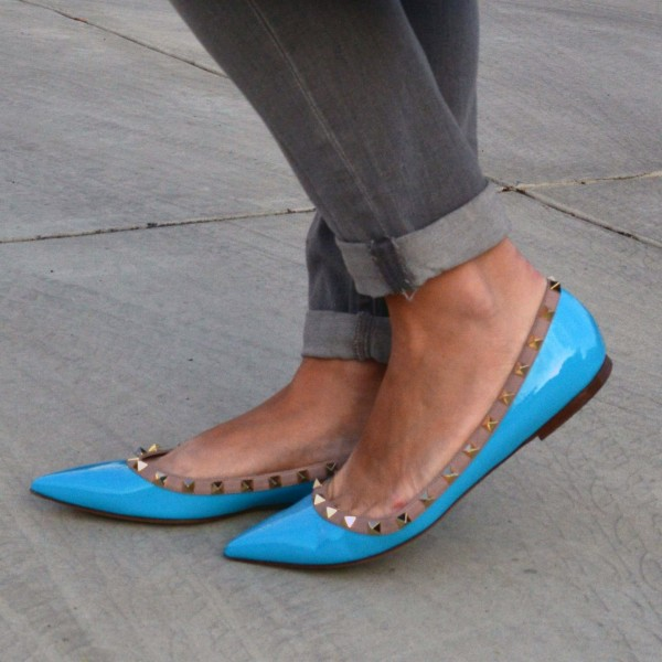 Women's Blue Riverts Comfortable Pointed Toe Pumps Flats image 1