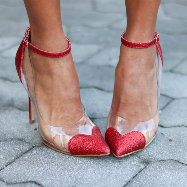 Clear Heels Red Transparent Ankle Strap Pointy Toe Stiletto Heel Pumps image 1