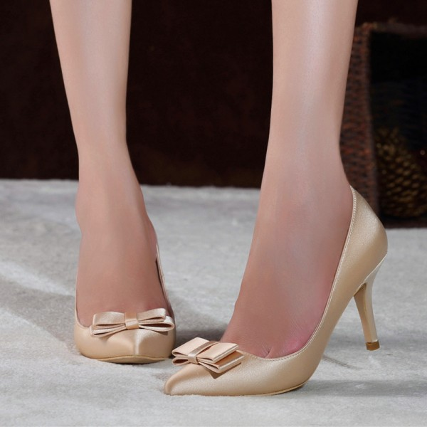 Women's Champagne Stiletto Heels Dress Shoes Pointed Toe Pumps  image 1