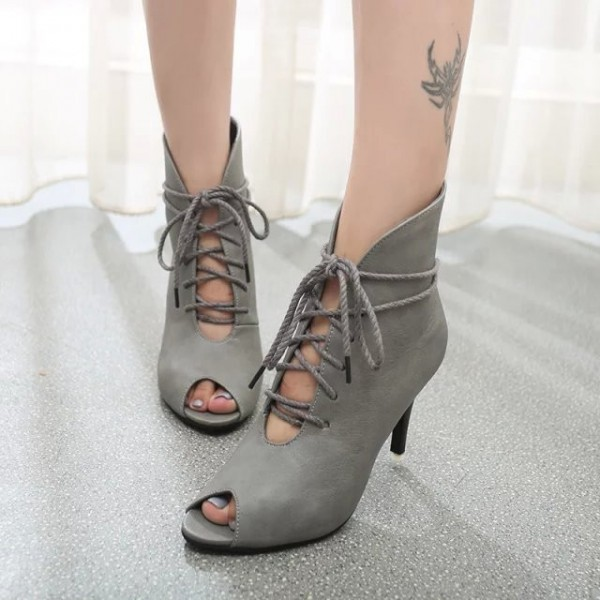 Women's Grey Lace Up Boots Peep Toe Ankle Boots image 1