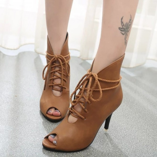 Women's Brown Peep Toe Lace Up Boots Ankle strap Heels Boots image 1