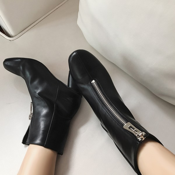 Women's Black Chunky Heel Boots Round toe Ankle Ankle Booties image 1