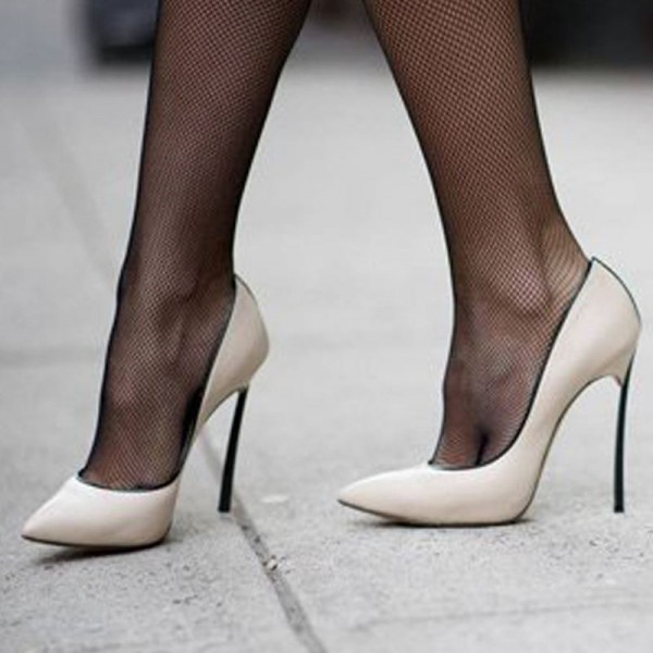 White  Stiletto Heels  Pointy Toe Commuting Pumps For Women image 1
