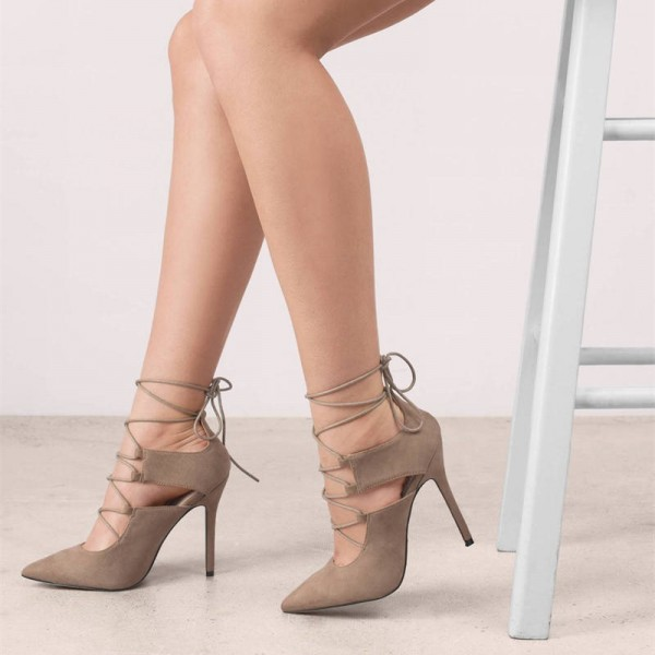 Khaki Lace up Heels Pointy Toe Suede Stiletto Heel Pumps for Women image 1