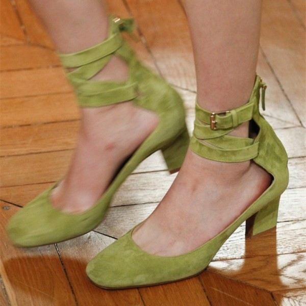 Fashion Green Ankle Strap Heels Vintage Strappy Buckle Heel Pumps image 1