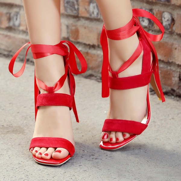 Women's Red Open Toe Hollow out Stiletto Heel Strappy Sandals image 1