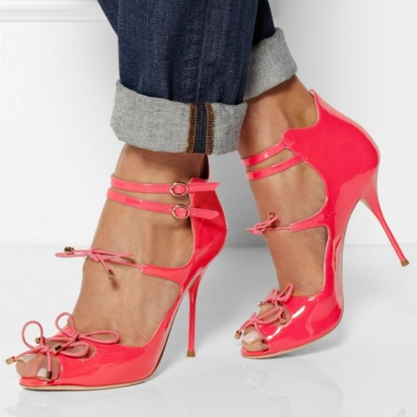 Hot Pink 4 Inch Heels Lace up Peep Toe Stiletto Heel Pumps image 1