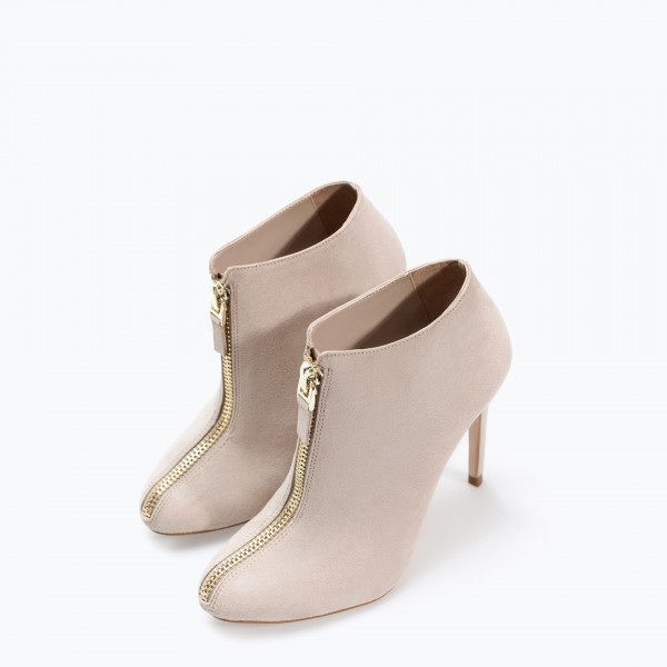 Nude Stiletto Boots Round Toe Suede Heeled Ankle Booties for Work image 1
