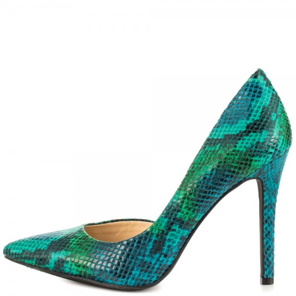 Women's Ariel Green Gradient Color Stiletto Heels Pointy Toe Pumps image 1