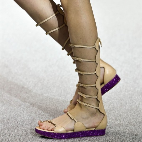 Women's Khaki Buckle Open Toe Hollow Out Flats Gladiator Sandals image 1